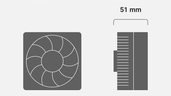 使用者可以選用高度小於5.1公分的空冷散熱器。
