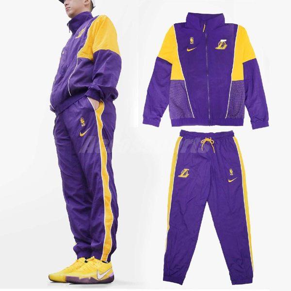 Nike 運動外套 長褲 套裝 LAL Tracksuit Courtside 紫 金 洛杉磯湖人隊 熱身用 男款 【PUMP306】 AH8820-504