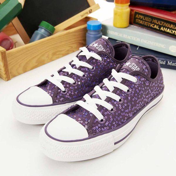 CONVERSE短筒帆布鞋--閃閃惹人愛--紫--13W170146--女