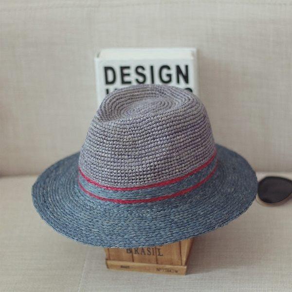 菲手工鉤針禮帽草帽男女士夏日大簷遮陽爵士草編禮帽太陽帽防曬