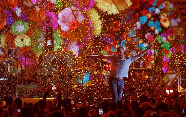 Coldplay lead singer Chris Martin performs during the iHeartRadio Music Festival at T-Mobile Arena in Las Vegas, Nevada, United States, on September 22, 2017.