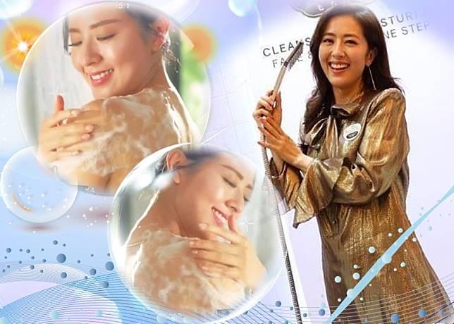唐詩詠為沐浴露品牌拍攝廣告。