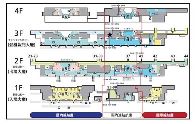 從航廈平面圖中,可看到全新的「際內連結航廈」,將兩者連接起來。(互聯網)