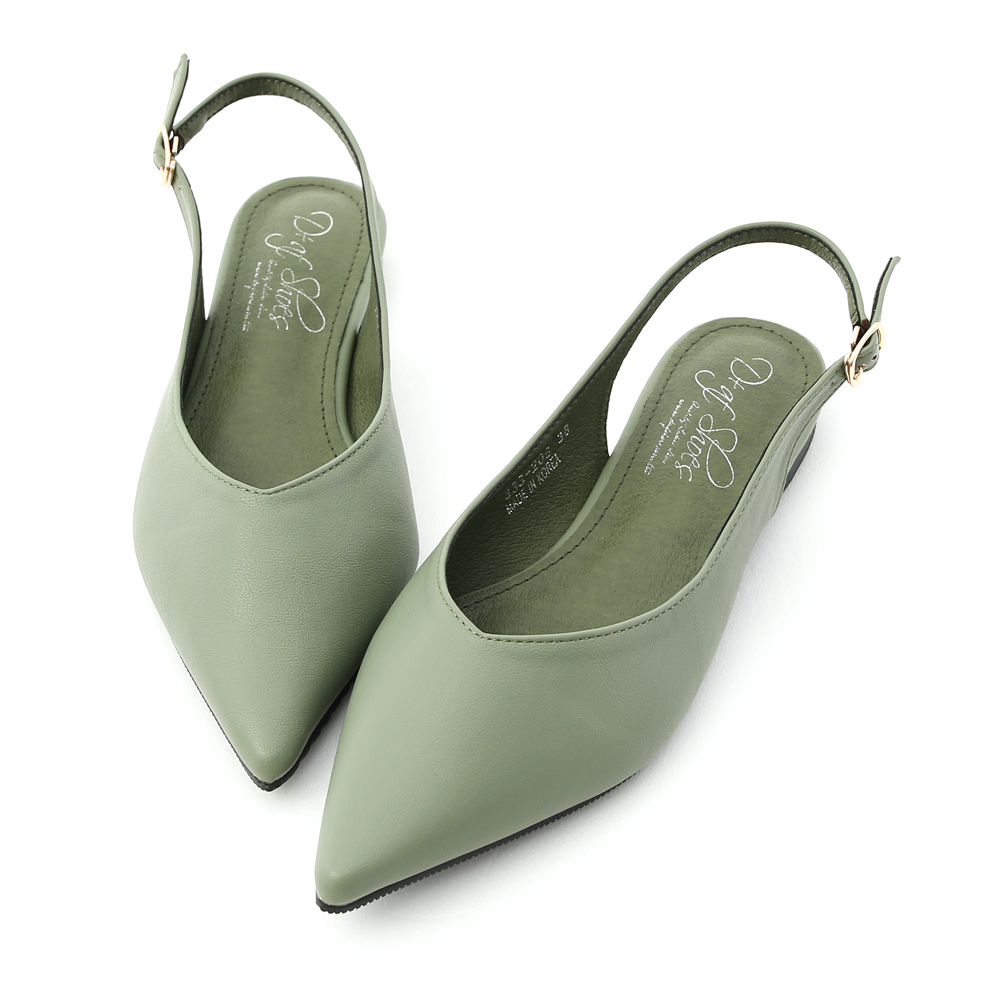 D+AF 純色優雅.V口尖頭後空平底鞋