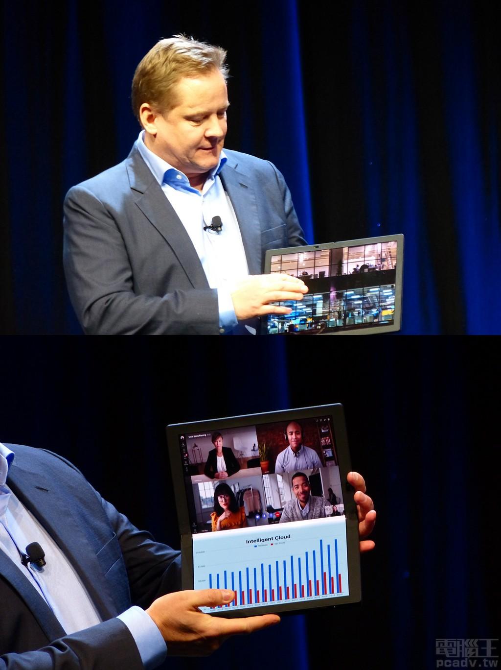 Lenovo 總裁示範 ThinkPad X1 Fold 雙螢幕可攤平作為 1 個螢幕使用,或是分別作為 2 個螢幕使用。