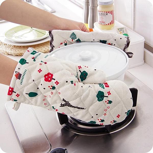 微波爐手套兩件套抗熱墊棉麻加厚防燙耐高溫烤箱手套廚房烹飪用
