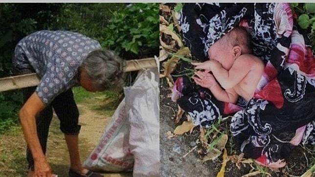 Wanita ini temukan bayi di tempat sampah.