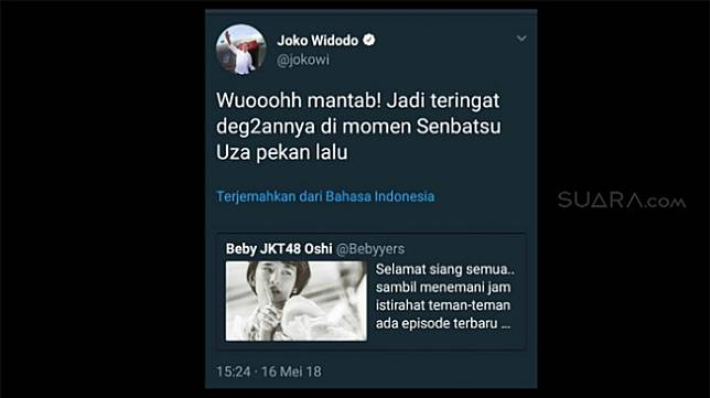 Geger! Presiden Jokowi Mendadak Retweet JKT48, Ini Pernyataan Istana