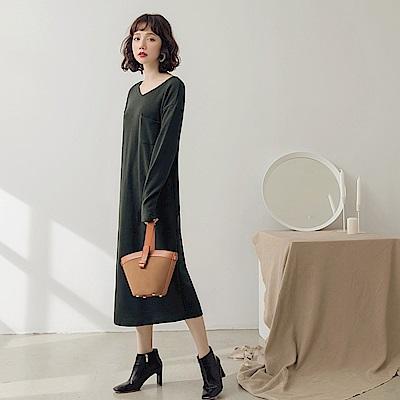 純色口袋造型仿針織洋裝-OB嚴選