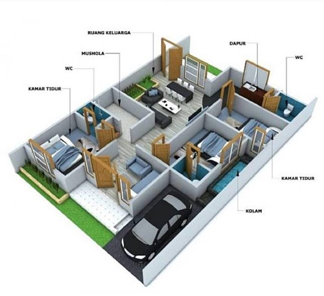 5 Contoh Rumah Minimalis 1 Lantai 3 Kamar Tidur Dekoruma Com Line Today