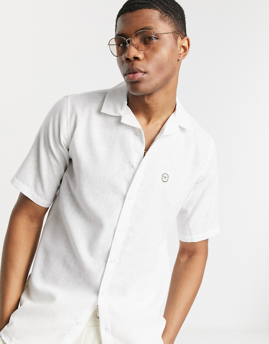 Shirt by Le Breve File under: staples Revere collar Button placket Logo chest embroidery Short sleev