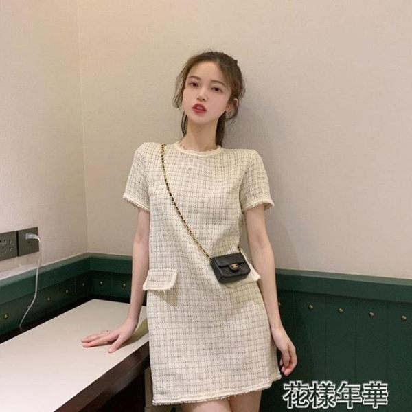 小禮服赫本風連身裙聚會名媛小香風很仙的氣質顯瘦格子裙 花樣年華