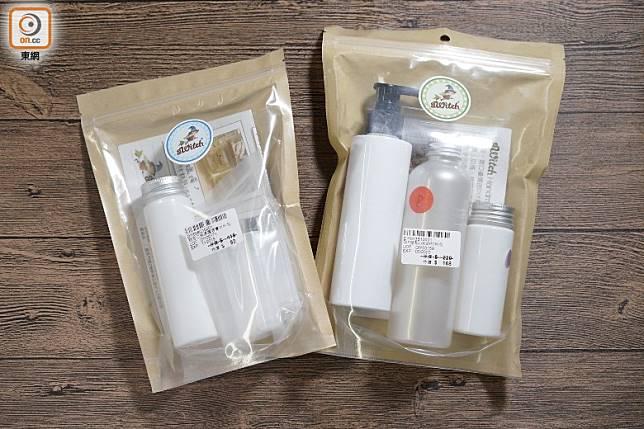 不想一次過買太多材料,可選擇DIY材料包,左為DIY甜杏仁補濕護唇膏材料包,右為DIY酪梨Lotion材料包。(張群生攝)