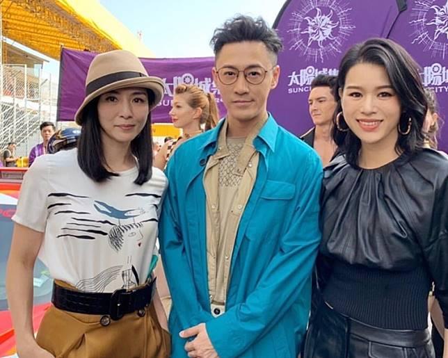 林峯跟兩位人妻靚媽楊采妮和胡杏兒在澳門碰面。