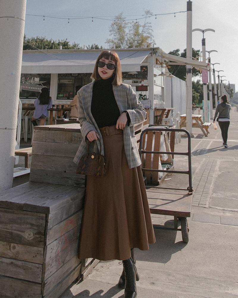 Mercci22+腰帶皮革傘擺長裙