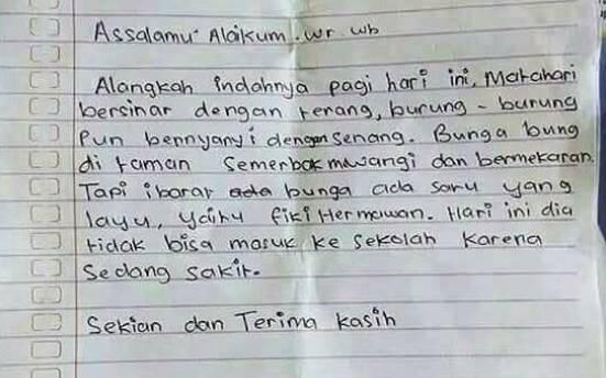 Baru Lagi Surat Izin Sakit Puitis Dari Orangtua Murid Ke