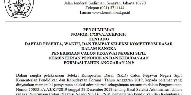 Simak, Kemendikbud Umumkan Jadwal dan Lokasi Tes SKD CPNS 2019