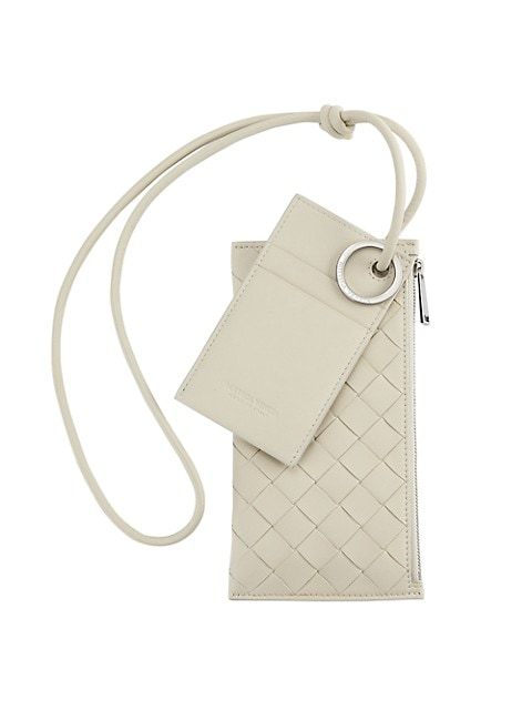 Sophisticated set that includes a cardholder and zip pouch with signature Bottega Veneta basketwoven