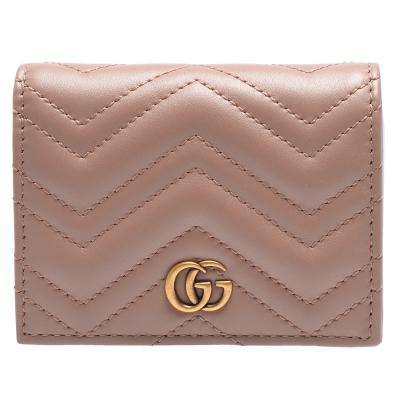 GUCCI GG Marmont 系列絎縫紋牛皮金屬雙G LOGO暗釦卡夾/零錢包(裸色)