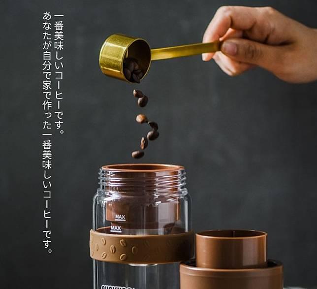 在咖啡濾網中倒入咖啡豆,蓋上主機即可研磨。(互聯網)