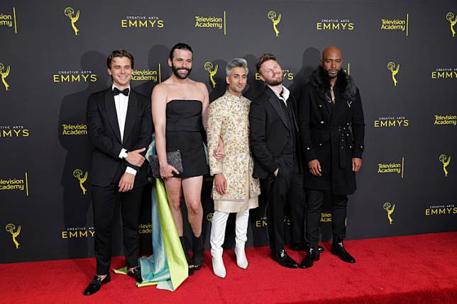 The cast of Queer Eye at the Creative Arts Emmys Awards in Los Angeles, United States, on September 14, 2019. REUTERS/Monica Almeida