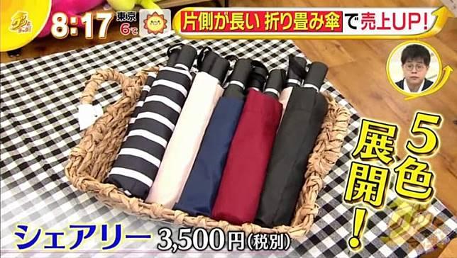 這款Sharely摺傘有5種顏色,售價3,500日圓(約HK$248)。(互聯網)