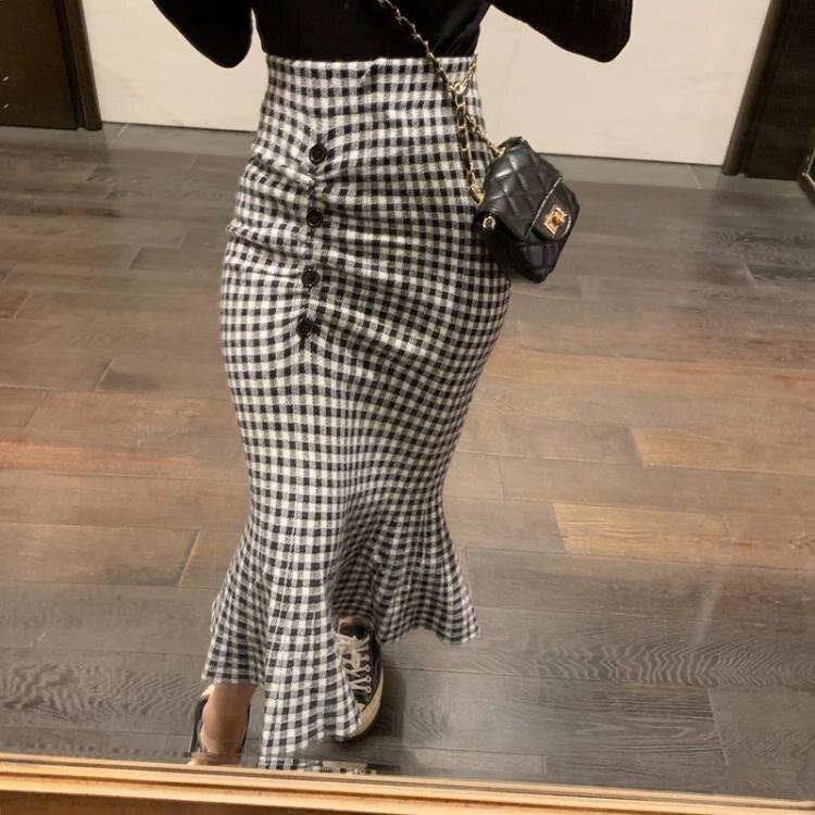 「樂天優選」針織魚尾裙 2019秋季新款高腰針織半身裙中長款包臀魚尾裙顯瘦裙子A字裙女裝
