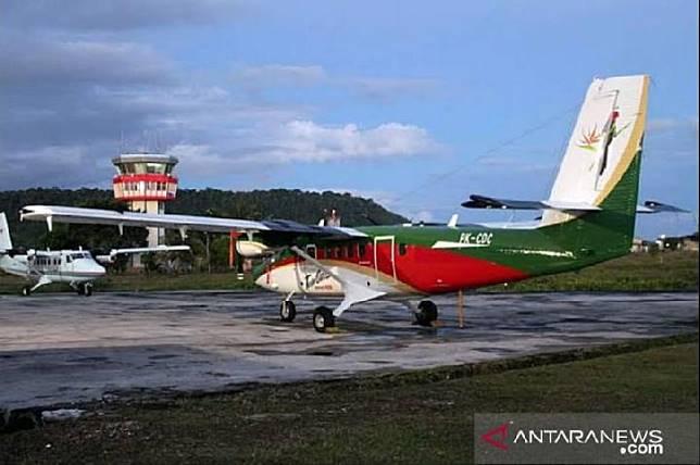Pesawat Twin Otter DHC6 dengan nomor registrasi PKCDC milik PT Carpendiem yang hilang kontak dalam penerbangan Timika-Ilaga, Rabu, 18 September 2019 (ANTARA)