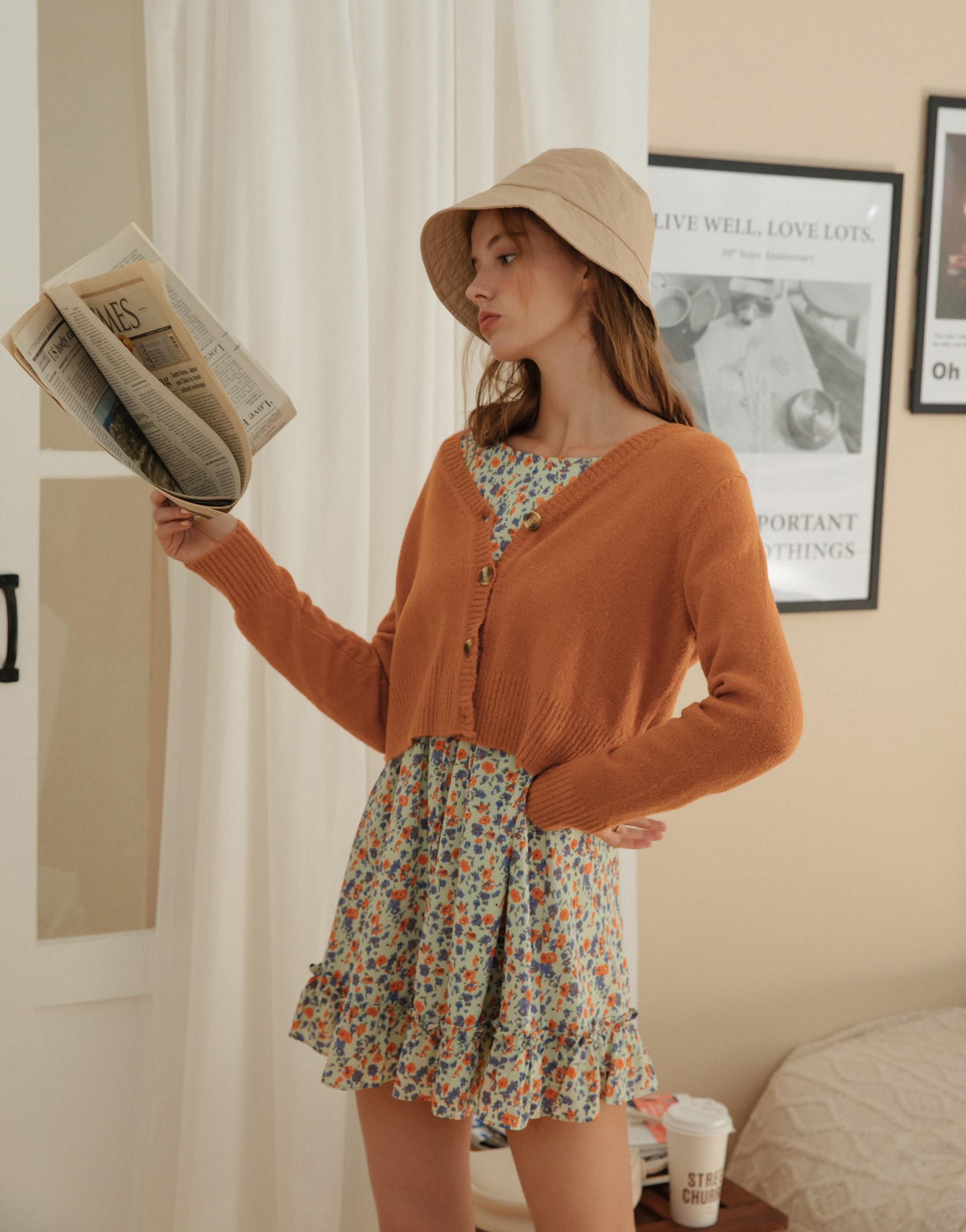 柔軟親膚針織面料/前排釦設計/袖口下襬羅紋設計/上衣外套兩穿