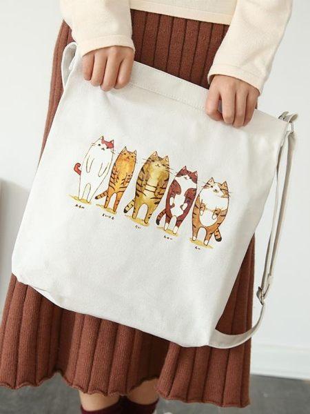 大容量購物袋 帆布包女學生原宿ulzzang小清新文藝單肩手提袋 艾莎嚴選
