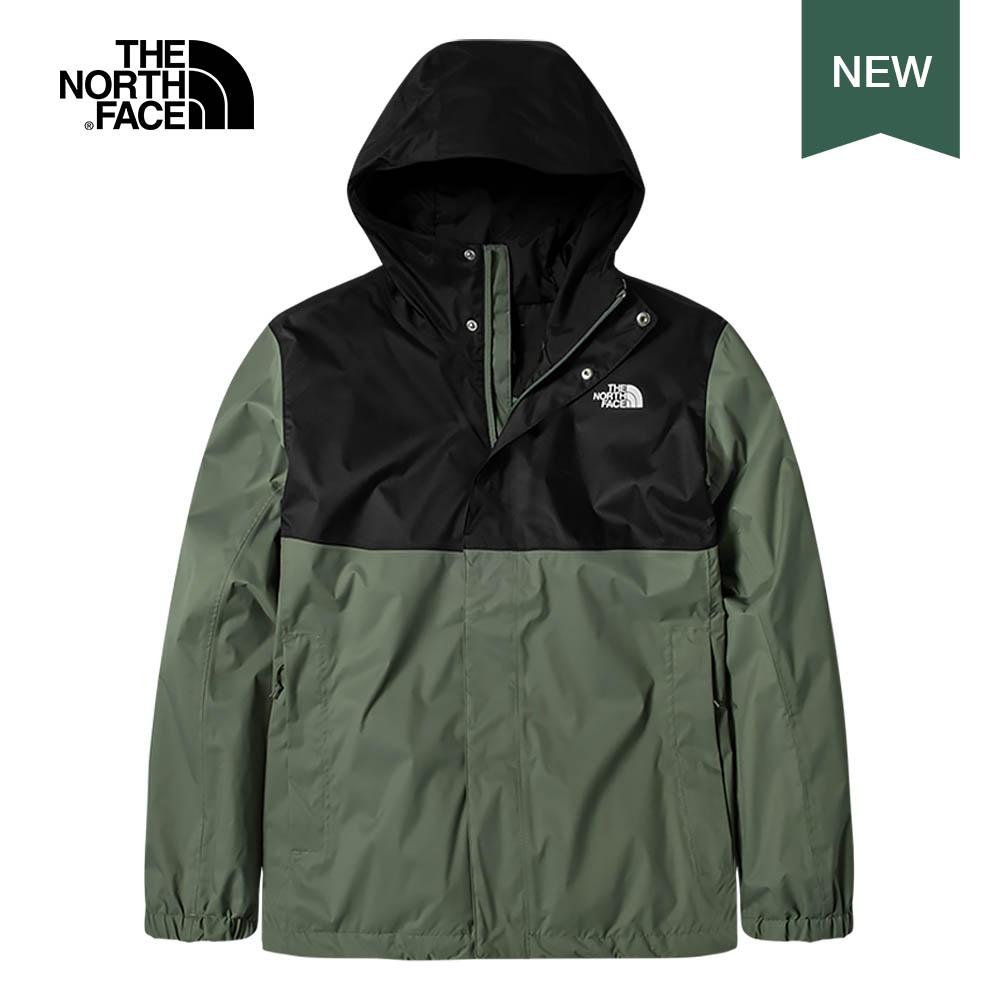 The North Face北面男款黑綠色防水透氣連帽衝鋒衣|5B43YXN