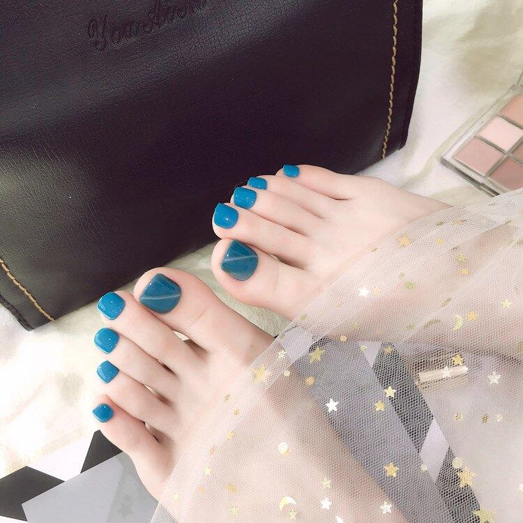 【現貨】 NF128 琉璃藍 貓眼腳趾甲片 穿戴美甲片成品 手工光療夏季流行貓眼腳指甲片系列