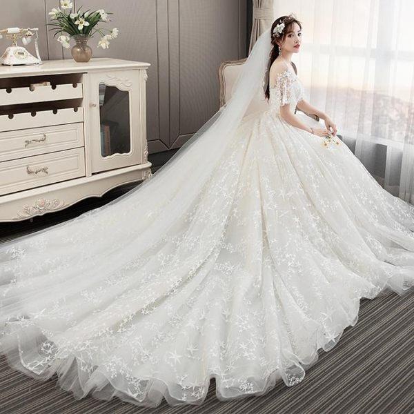 婚紗禮服 輕新娘拖尾公主夢幻奢華一字肩顯瘦森系韓版超仙簡約-巴黎時尚