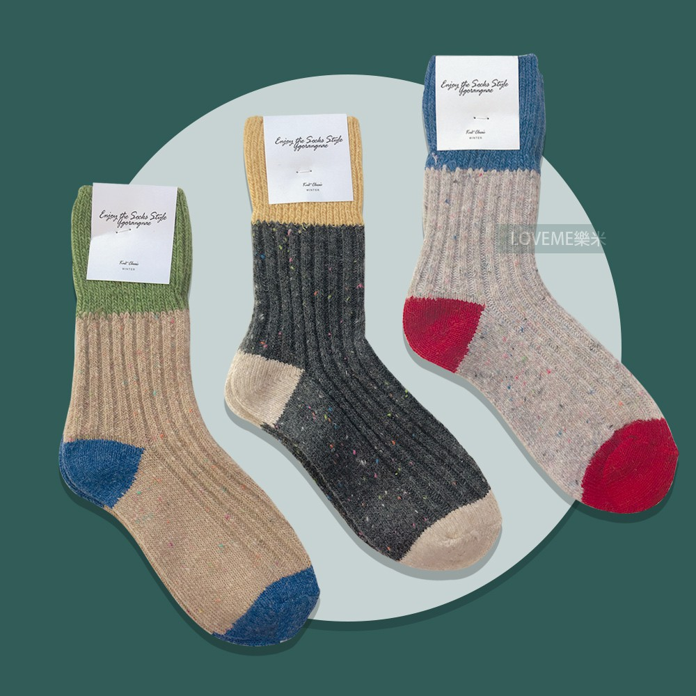 現貨 韓國 撞色羊毛襪 3款 拚色 毛呢 羊毛 長襪 長統襪 襪子 秋冬 保暖 針織 28J