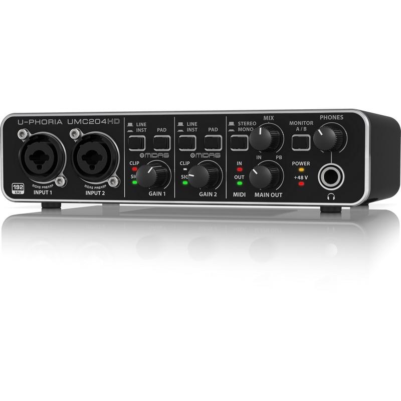 Behringer 新款UMC204HD USB2.0錄音卡/音效卡(24Bit/192KHz超高取樣)*新一代Behringer U-PHORIA UMC204HD錄音介面,使用USB2.0高速傳輸