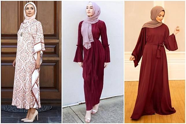 7 Gaya Ootd Kaftan Dan Hijab Maroon Yang Jadi Tren Warna Lebaran 2020