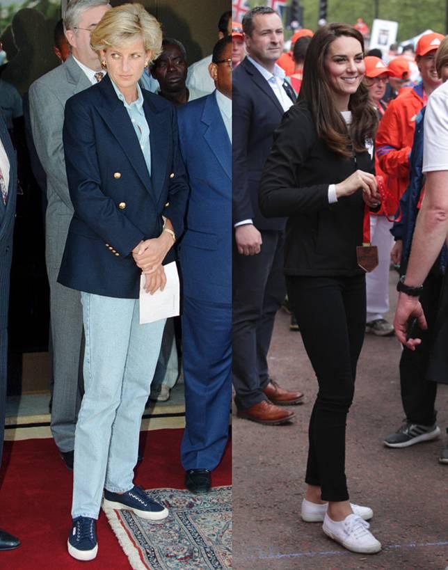 戴安娜王妃及凱特王妃都曾以帆布鞋示人。