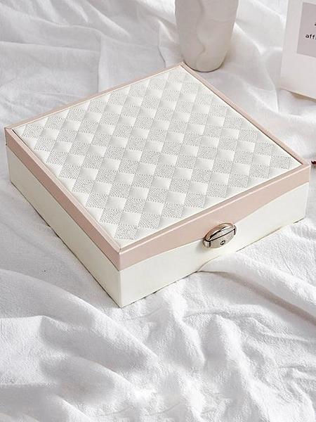首飾盒收納大容量耳釘收納盒小雙層多功能飾品盒珠寶收納盒整理盒