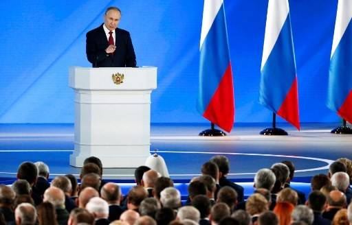 Russian President Vladimir Putin addresses the Federal Assembly at the Manezh exhibition hall in downtown Moscow on Jan. 15, 2020.