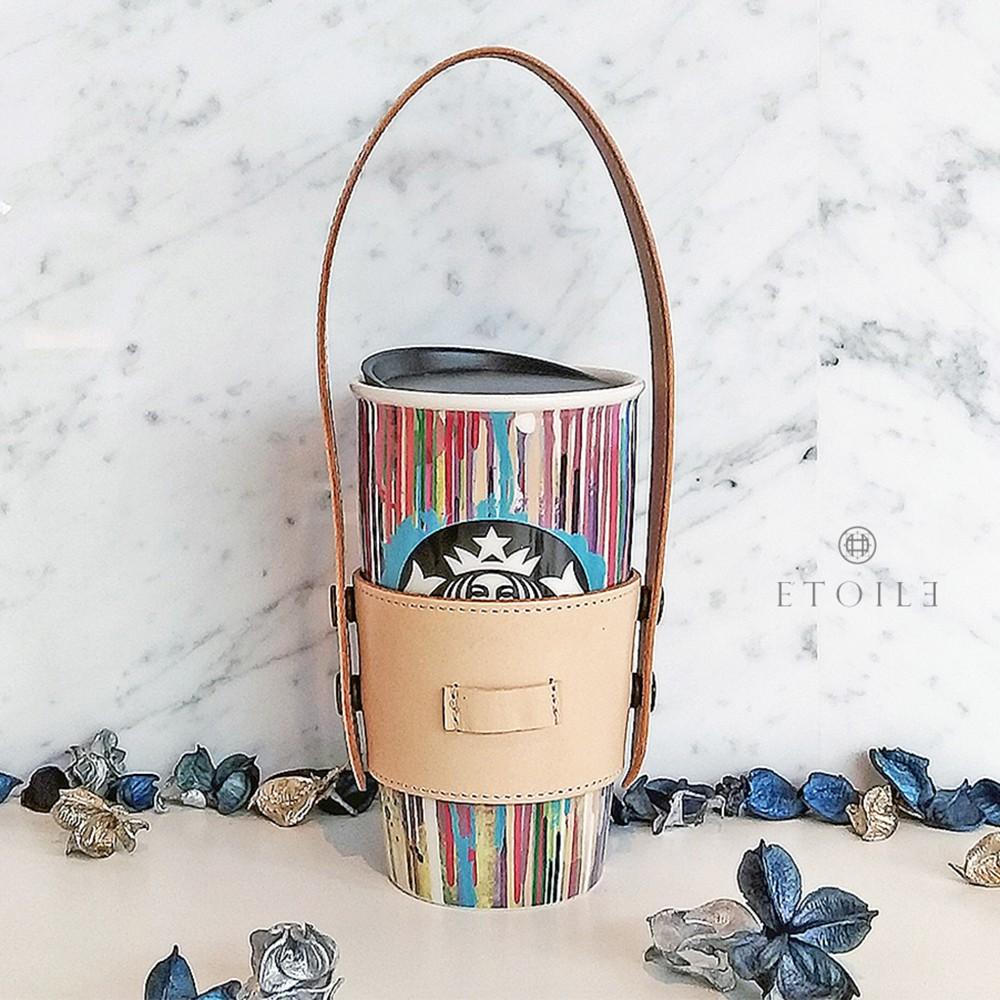日系真皮手提杯套 / 環保杯袋-植鞣革