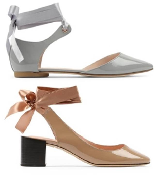 Jordana灰色緞帶蝴蝶結漆皮平底鞋、LUNA奶茶色蝴蝶結漆皮高踭鞋(互聯網)