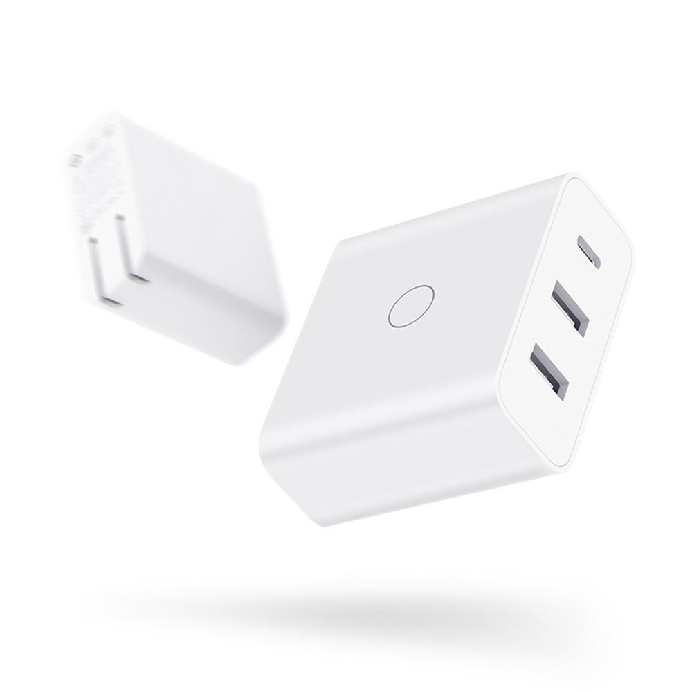 65W大功率QC PD快速充電2孔USB-A+1孔Type-C旋轉收納插角設計