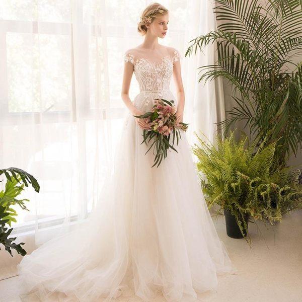 婚禮洋裝 婚紗禮服 森系超仙旅拍輕奢華新娘公主夢幻顯瘦一字肩拖尾 BB奇趣屋
