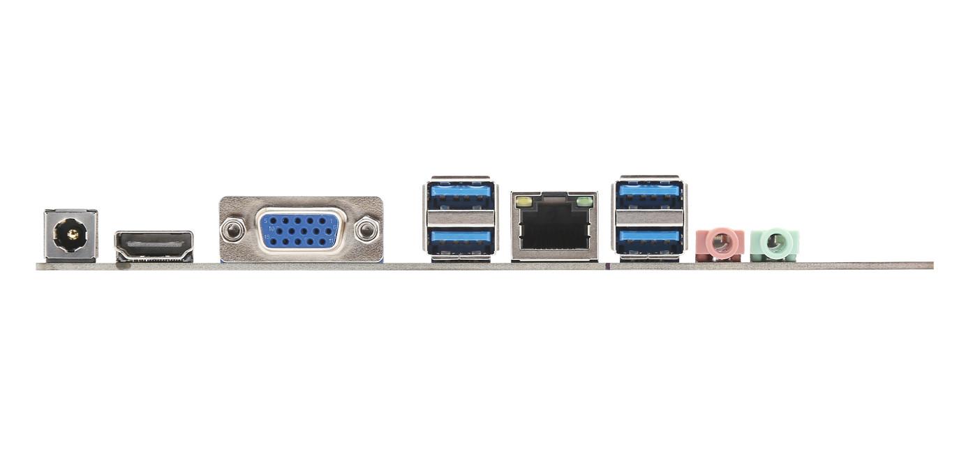 B320-IPC 背板 I/O 一覽,左方為直流 +12V~+19V 輸入,並提供 HDMI x 1、D-Sub x 1、USB 3.1 Gen1 x 4、RJ45 x 1(Realtek RTL8111H)、立體聲輸出和麥克風輸出