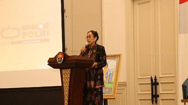 ILUSTRASI - Sukmawati Soekarnoputri dalam sebuah diskusi di Jakarta Selatan. (Suara.com/Arga).