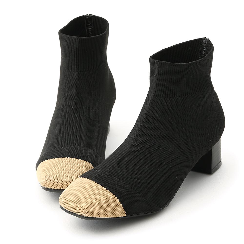 D+AF 名品氣質.小香風方頭彈力針織襪靴
