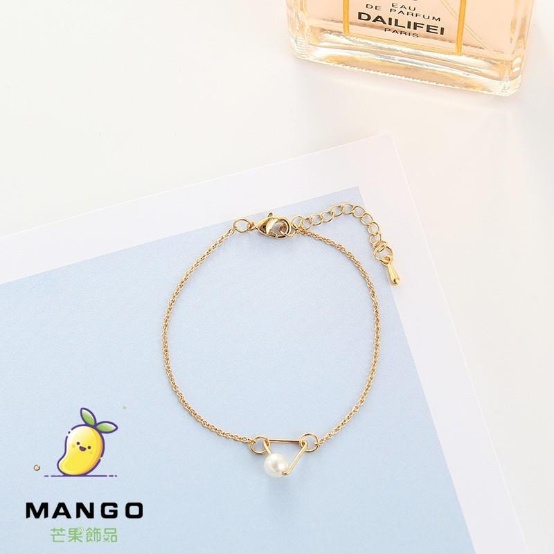 【滿額免運】仿珍珠手鏈三角幾何韓版簡約情侶閨蜜手鏈 金手環 手镯 T321