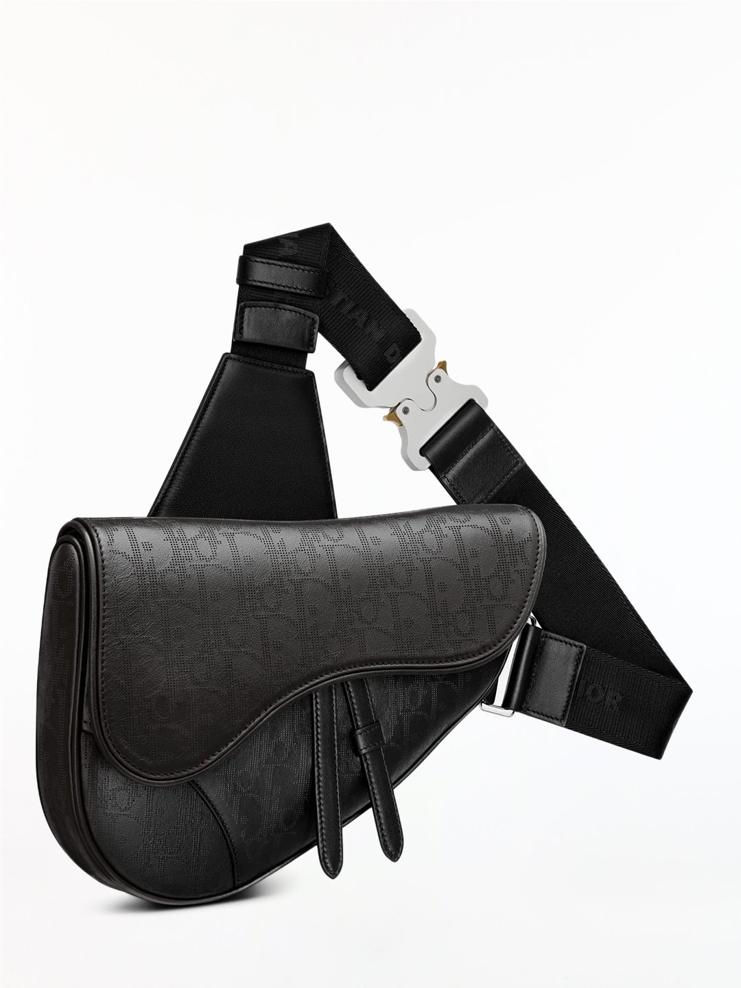 Saddle bag crafted in black Dior Oblique Galaxy leather, a smooth calfskin embellished with a perfor