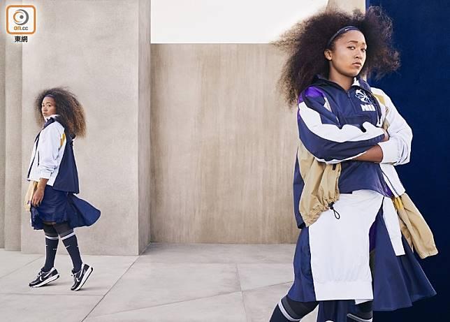 網球運動員Naomi Osaka演繹sacai x Nike最新秋冬服飾及LDWaffle。(互聯網)