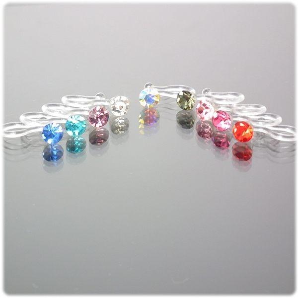透明耳環 耳夾 無耳洞/U型/矽膠耳環n單一只(個)價格 n彩色人造水鑽 大小約 4 mm